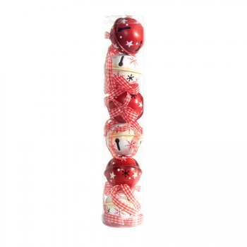 6 Boules Grelots en Métal Rouge/Blanc