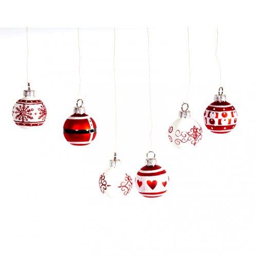 6 minis Boules Déco Place-noms Rouge/blanc