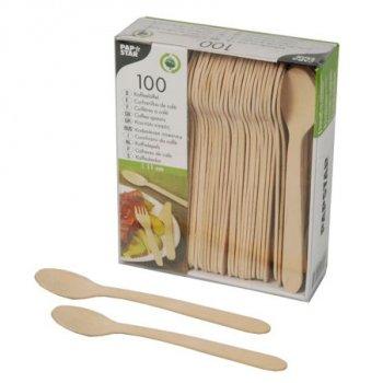 100 Mini Cuillères Bois