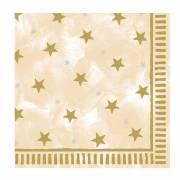 12 Grandes Serviettes crème et or