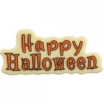 1 Plaque Happy Halloween Chocolat blanc (8 cm)