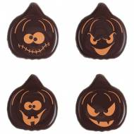 4 Faces de Citrouilles en Chocolat noir (2,5 cm)