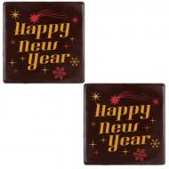 2 Carrés Happy New Year (5 cm) - Chocolat Noir