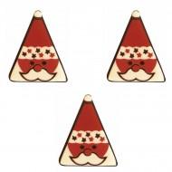3 Triangles Père Noël (3,8 cm) - Chocolat Blanc