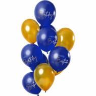 Bouquet 12 Ballons Happy Birthday Or Bleu