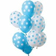 Bouquet 12 Ballons à Pois Bleu et Blanc