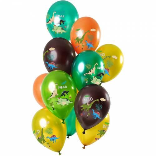 Bouquet 12 Ballons Dino Colors Métallique
