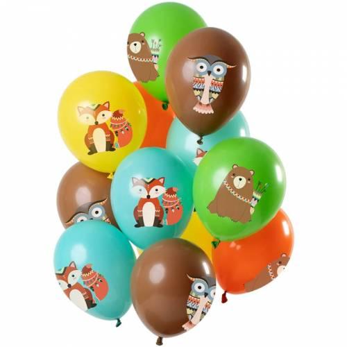 Bouquet 12 Ballons Animaux de le Forêt Multicolore