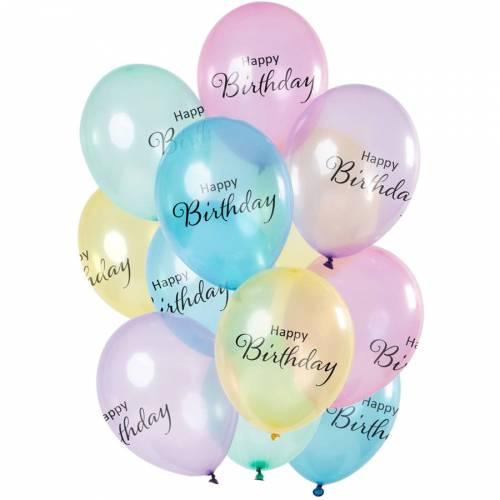 Bouquet 12 Ballons Happy Birthday Pastel Transparent