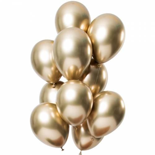Bouquet 12 Ballons Métallique Or Effet Miroir