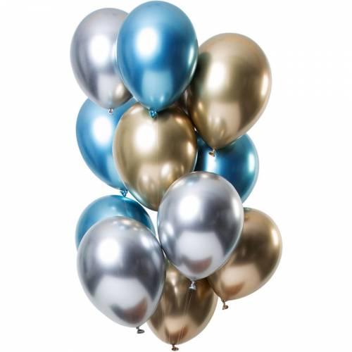 Bouquet 12 Ballons Métallique Saphir Effet Miroir