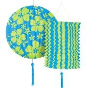 Lot de 2 lanternes papier Hibiscus Bleu/vert