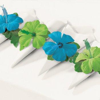 4 ronds de serviettes Hibiscus bleu