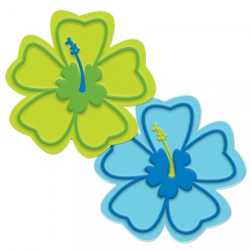 6 sous-verres Hibiscus bleu/vert