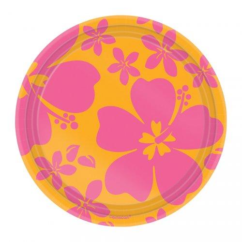 8 assiettes Hibiscus rose Mini