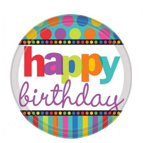 "Assiettes Rayures et Pois ""Happy Birthday"""