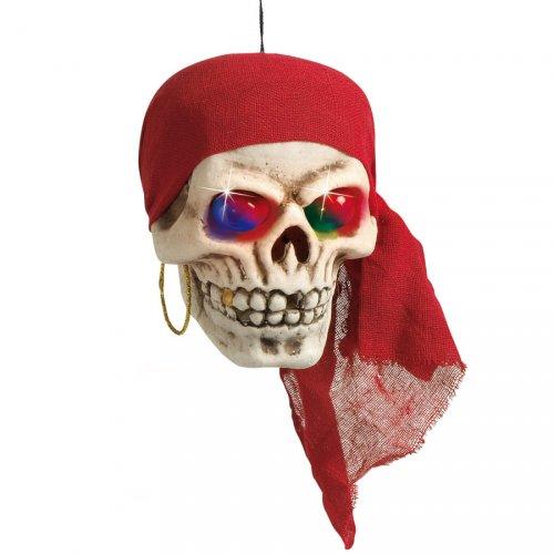 Crâne Pirate à suspendre avec yeux lumineux
