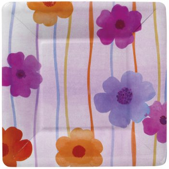 8 Assiettes Carré Trendy Flower Mini