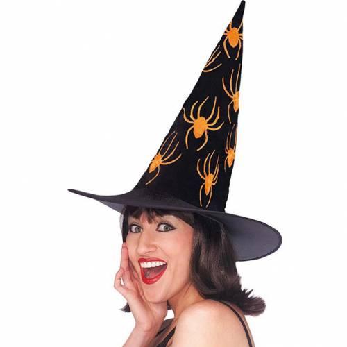 Chapeau de sorcière velours avec motifs araignées orange