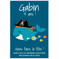 Invitation à personnaliser - Pirate Ahoy! Baleine