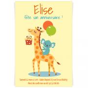 Invitation à personnaliser - Girafe Happy Birthday