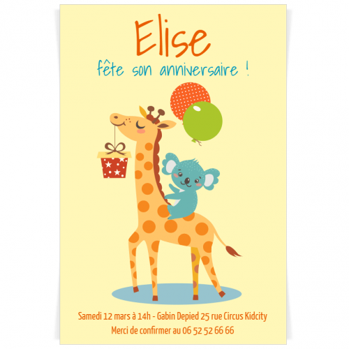 Invitation à personnaliser - Girafe Happy Birthday