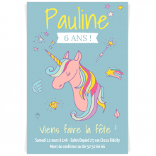 Invitation à personnaliser - Licorne Rainbow