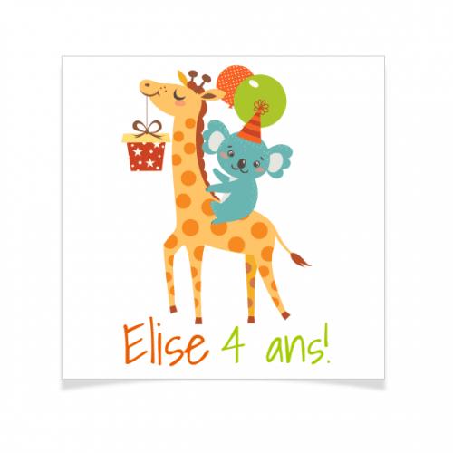 8 Tatouages à personnaliser - Girafe Happy