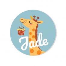 Badge à personnaliser - Girafe Happy Birthday