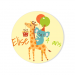 Badge à personnaliser - Girafe Happy Birthday. n°2