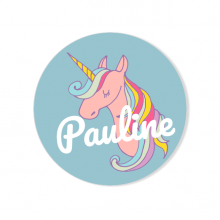 Badge à personnaliser - Licorne Rainbow