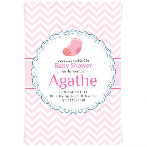 Invitation à personnaliser - Baby Shower Fille