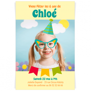 Invitation à personnaliser - Photo Booth Fille
