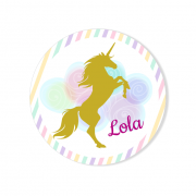 Badge à personnaliser - Licorne Or Nuages