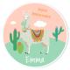 Fotocroc rond à personnaliser - Lama Rose et Vert
