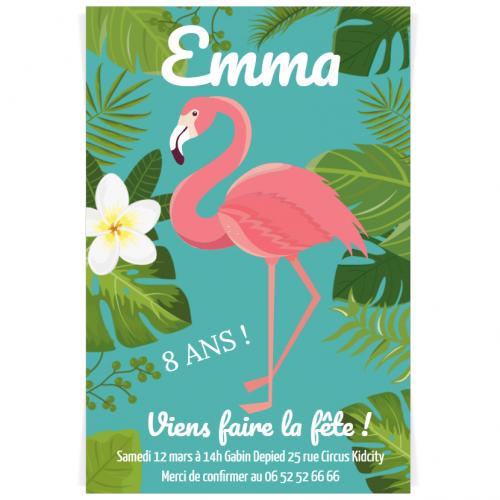 Invitation à personnaliser - Tropical Flamingo