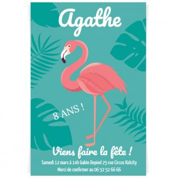 Invitation A Personnaliser Flamant Rose Ambiance Turquoise Pour L