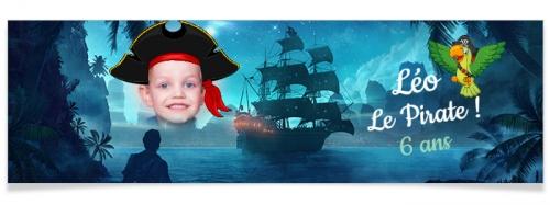 Bannière à personnaliser - Bateau de Pirate