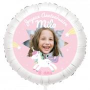Ballon Licorne Etoile Photo - Gonflé à l'Hélium 55 cm