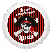Ballon Pirate Tête de Mort - Gonflé à l'Hélium 55 cm
