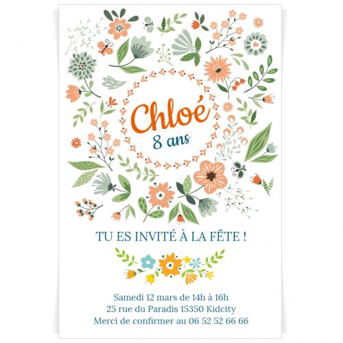 Invitation à personnaliser - Fleurs de Printemps
