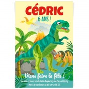Invitation à personnaliser - Dino T-Rex Jaune