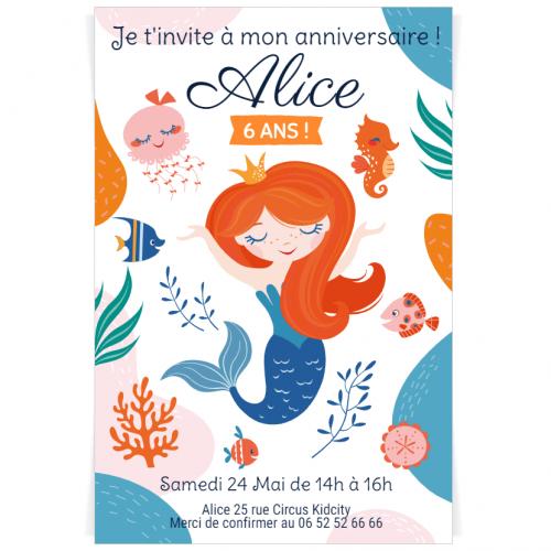 Invitation à personnaliser - Sirène Corail