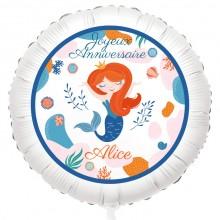 Ballon Sirène Corail - Gonflé à l'Hélium 55 cm