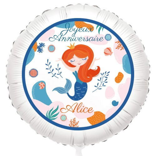 Ballon Sirène Corail - Gonflé à l Hélium 55 cm