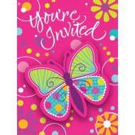 8 Invitations Papillon Fun