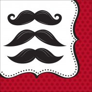16 Serviettes Moustache Party