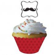 Kit 12 Wrappers et Déco Cupcakes Moustache