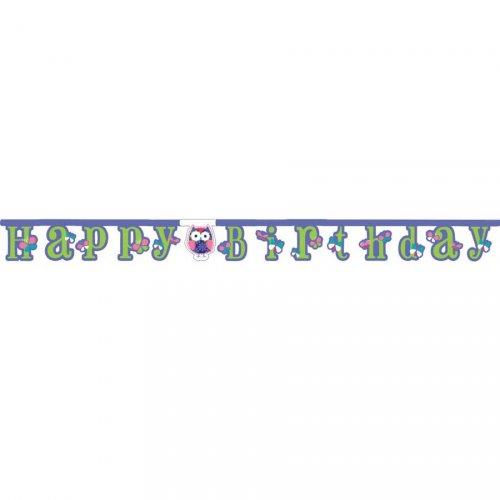 Guirlande lettres Happy Birthday Hiboux