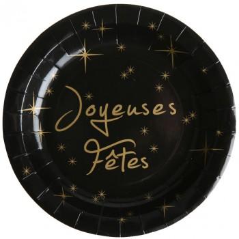 Boîte à fête Joyeuses Fêtes Noire et Or